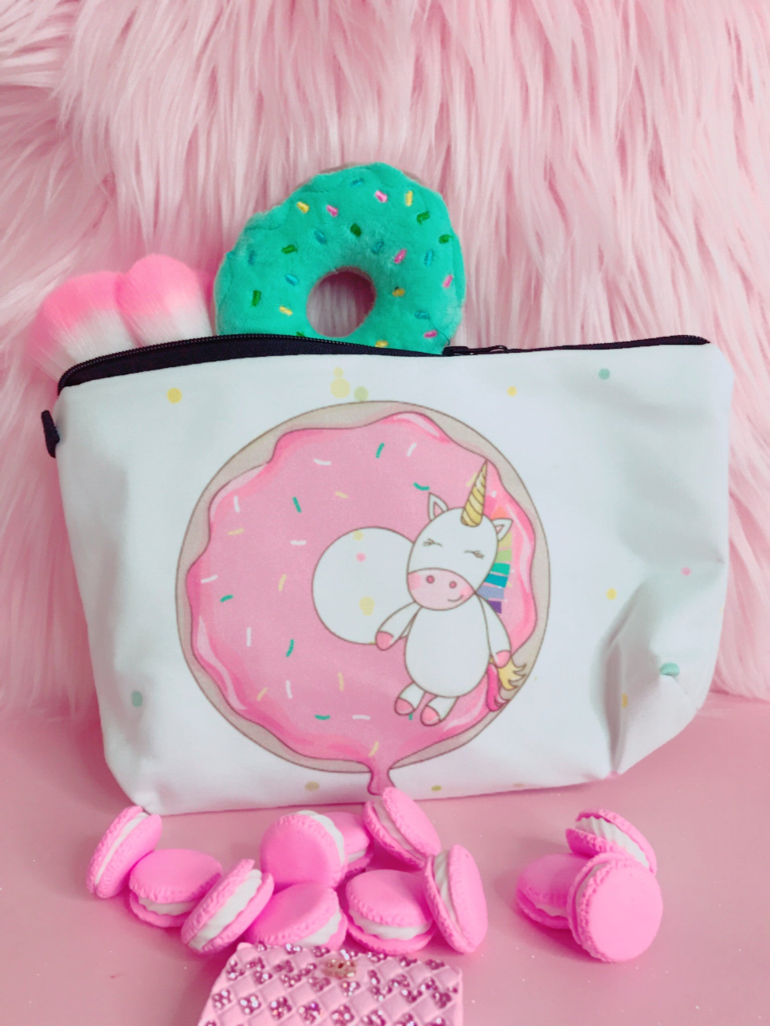 Donut unicorn white makeup bag