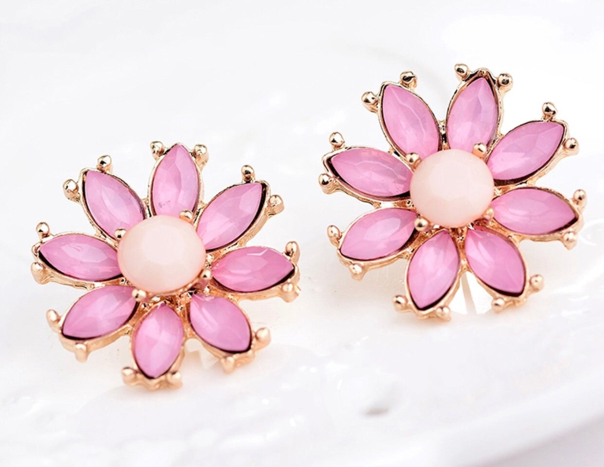 Glam Pink Flower Earrings Classy Pink Boutique