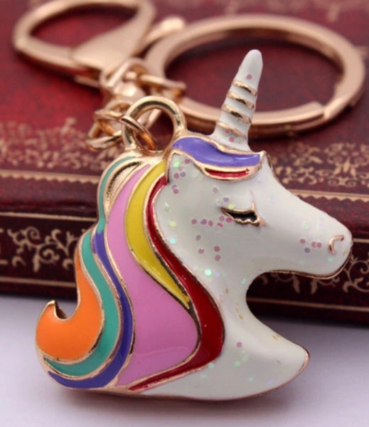 Rainbow magic unicorn bag charm keychain