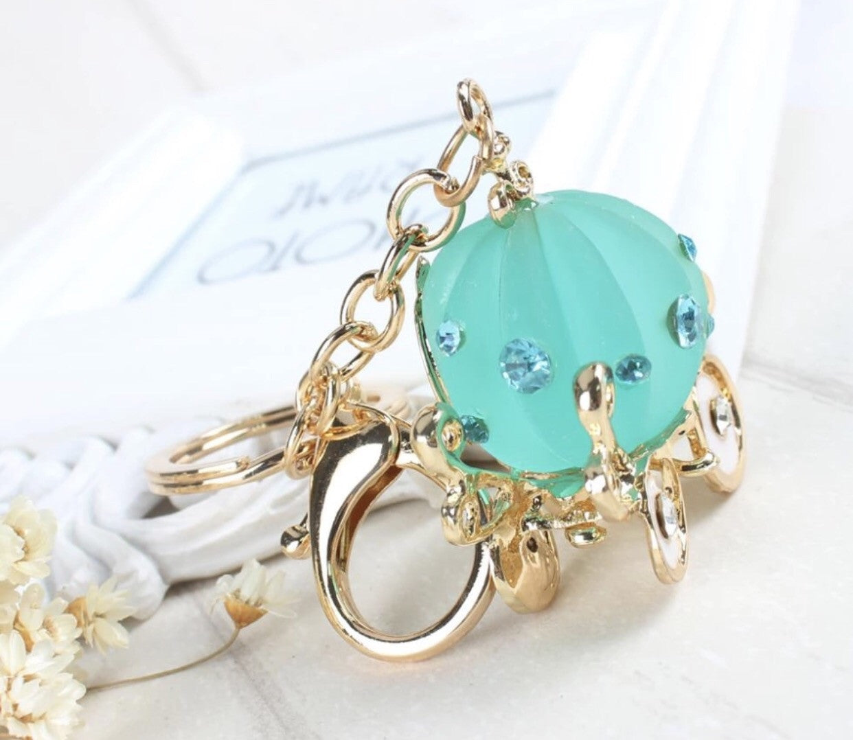 Teal color princess carriage bag charm keychain