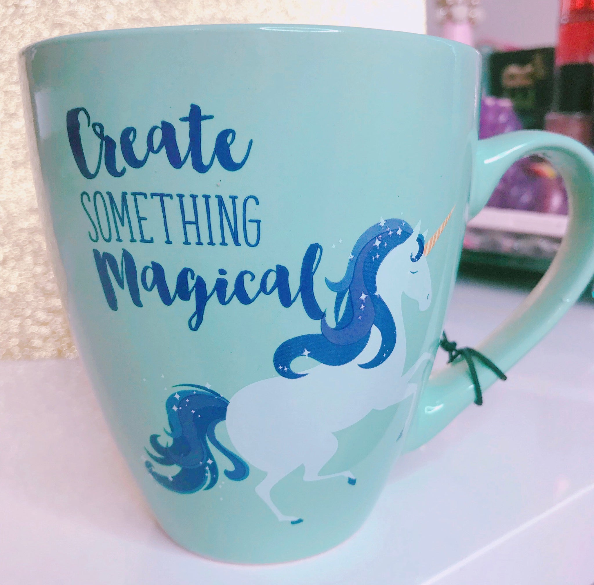 Teal Unicorn mug Create something magical