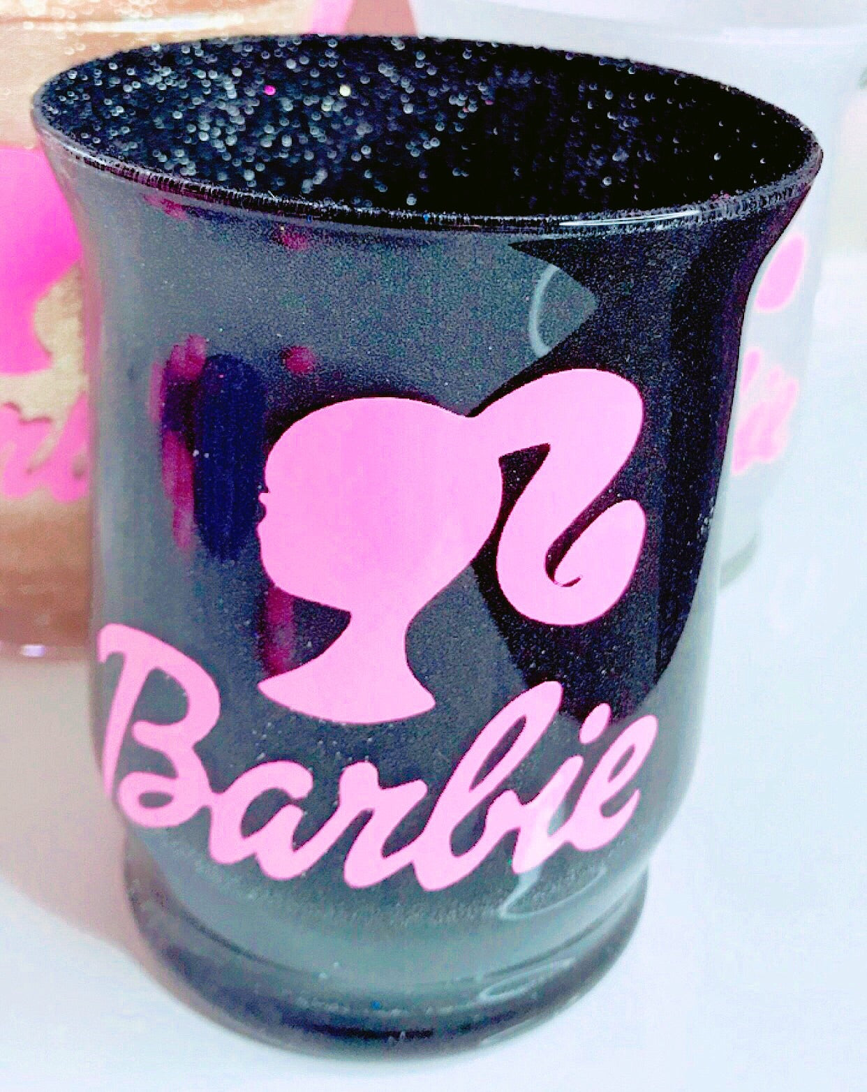 Black glitter Barbie brush bolder