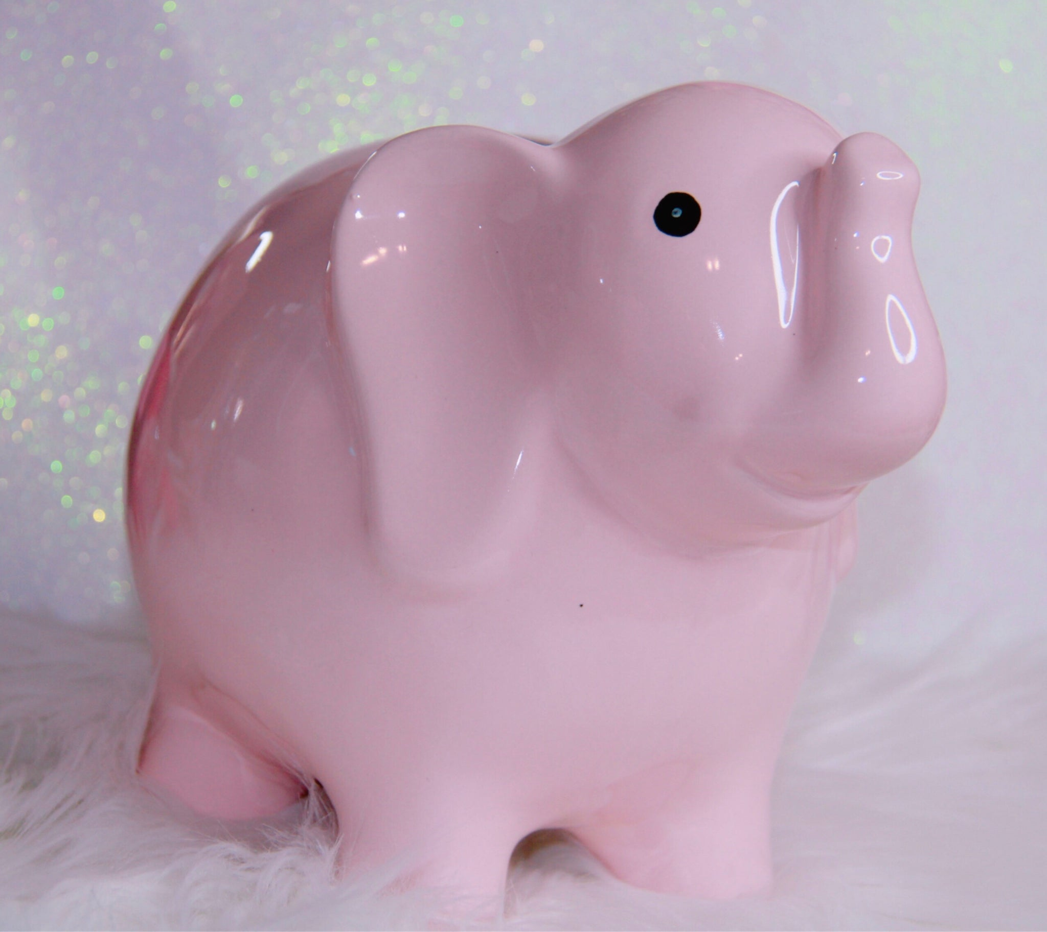 Pink elephant ceramic decor piece medium size
