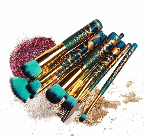Gold Green sparkle brush set - Classy Pink Boutique