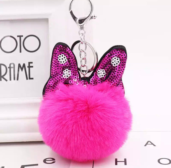 Minnie bow pom pom bag charm keychain
