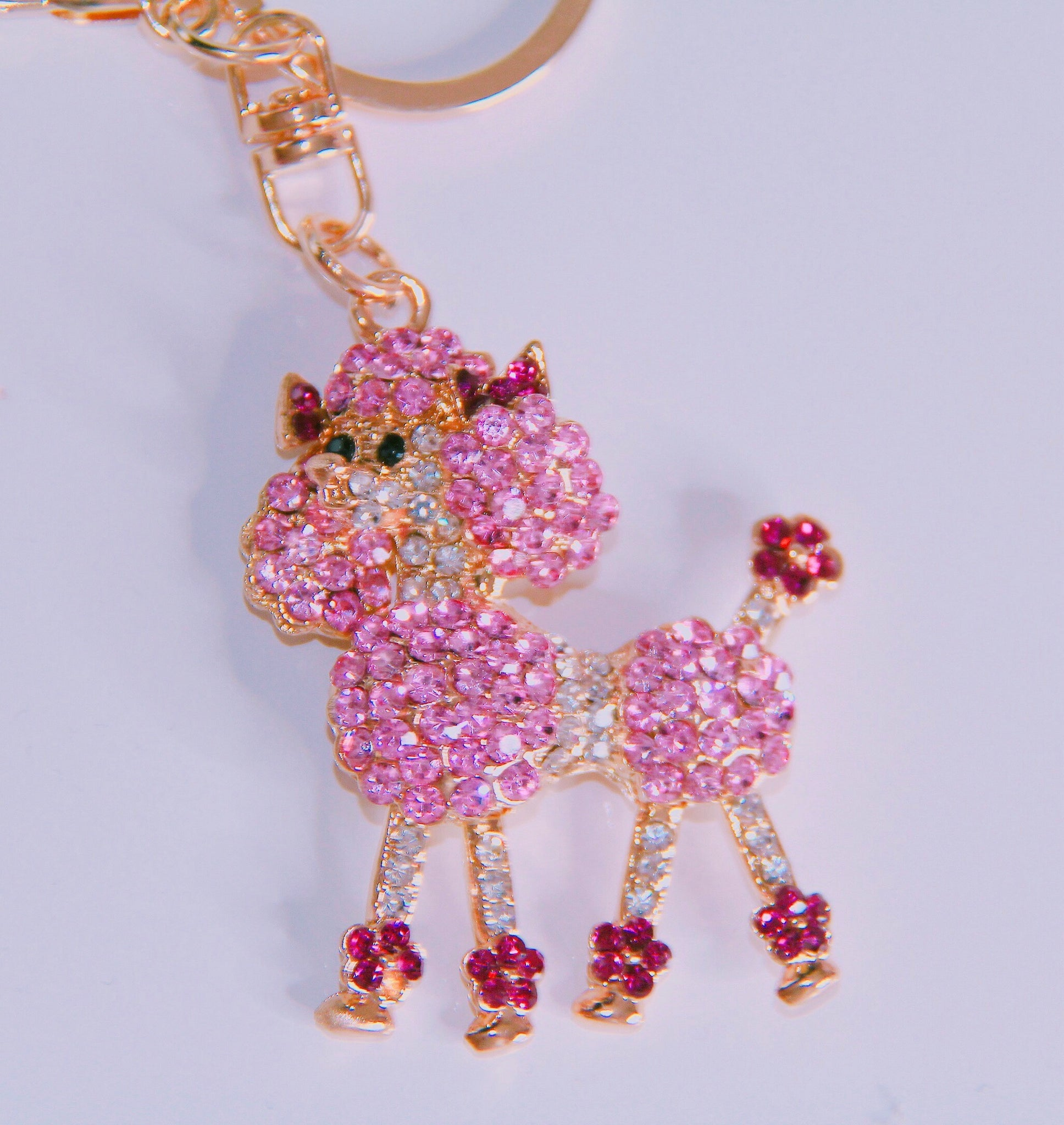 Pink poodle bag charm keychain