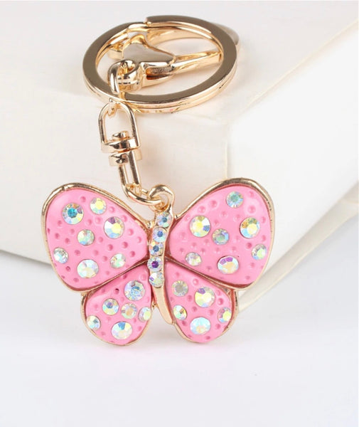 Pink butterfly with crystals bag charm keychain
