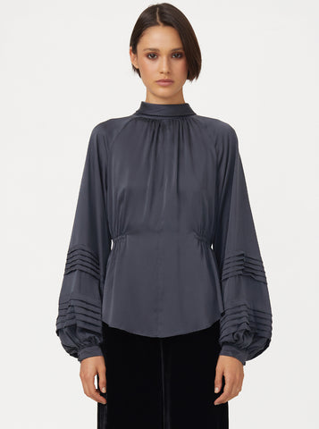 Luxe Silk High Neck Blouse