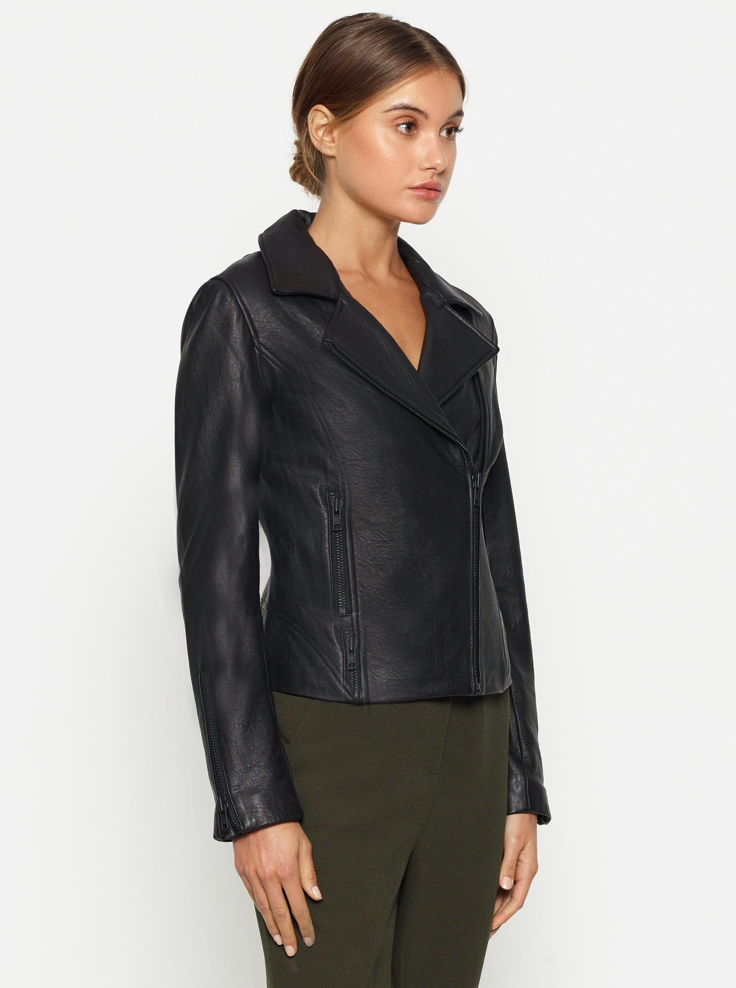Born To Be Wild Crop Leather Jacket - Black