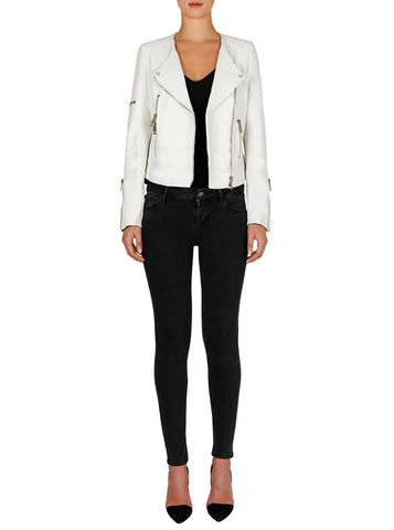 Born To Be Wild Leather Jacket - White