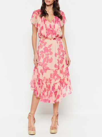 Butterflies Short Sleeve Ruffle Midi Dress