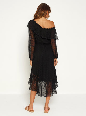 Night Beats Hi-Lo One Shoulder Maxi Dress - Black / Black Embroidery