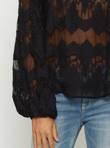 Heartbreaker Balloon Sleeve Blouse - Black