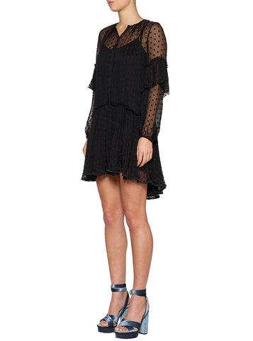 Night Beats Fluid Shirt Dress - Black/Black