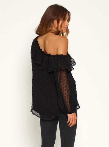 Night Beats One Shoulder Blouse - Black / Black Embroidery