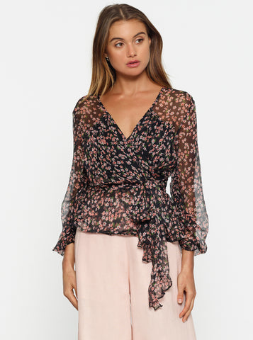 Dream Of Me Wrap Gathered Sleeve Top