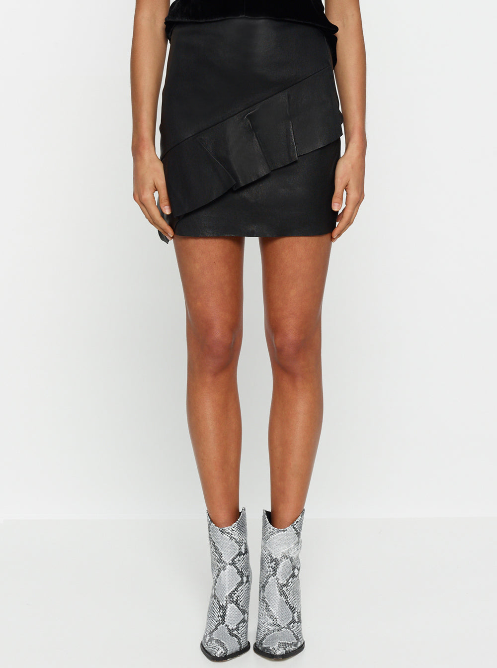 Pure Iconic Stretch Leather Mini Skirt