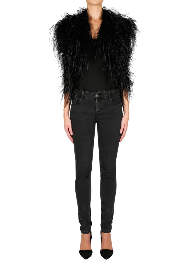 In Full Plume Vest - Black