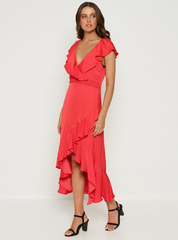 Look Twice Double Ruffle V Neck Midi Dress