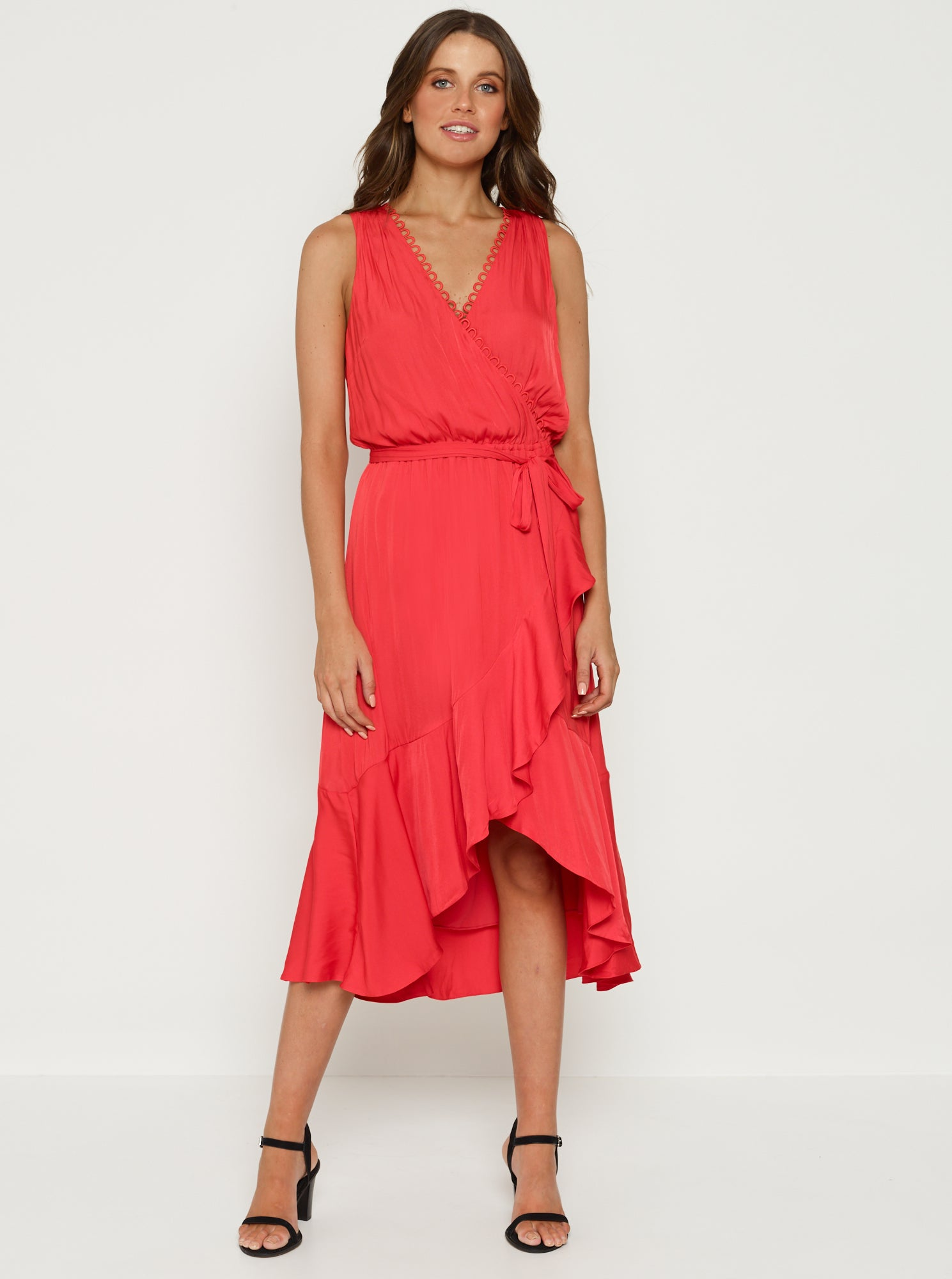 Look Twice Cross Over Hi Lo Midi Dress