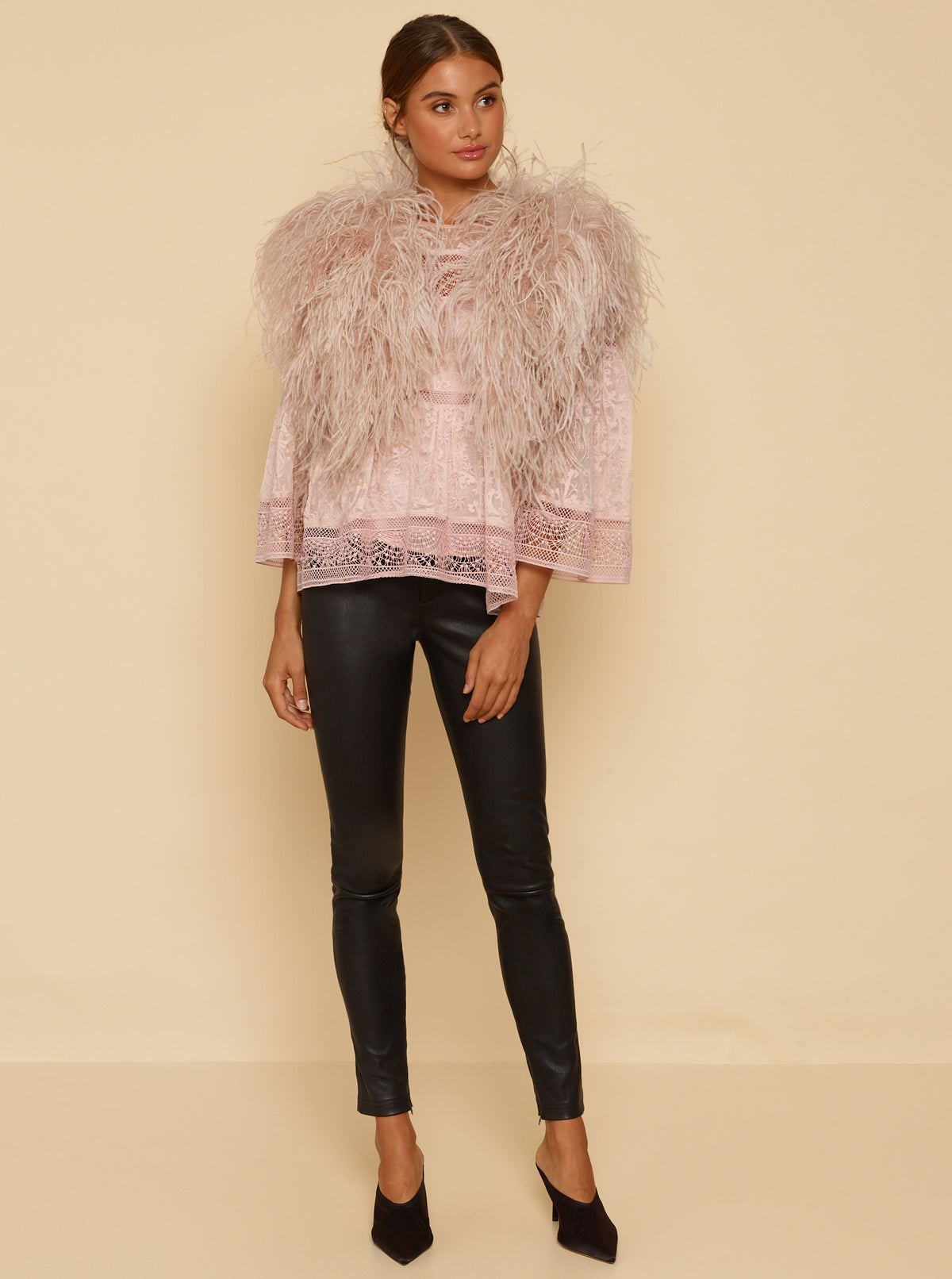 One Look Ostrich Bolero Jacket - Smokey Pink
