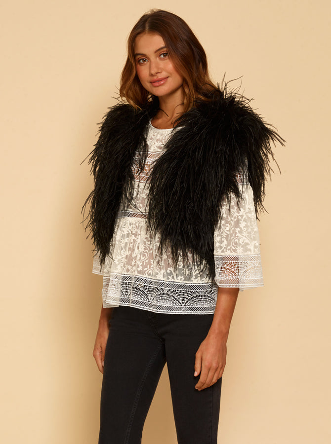 One Look Ostrich Bolero Jacket - Black