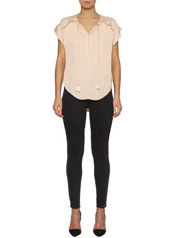 Look Twice Gathered Neck Flutter Top - Nude