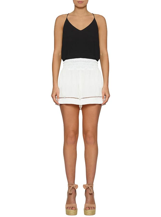 Look Twice Shirred Waist Short - White