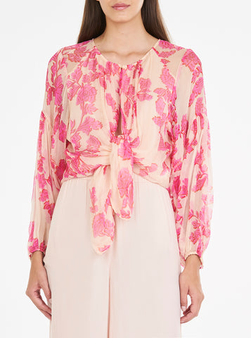 Butterflies Voluminous Sleeve Tie Top