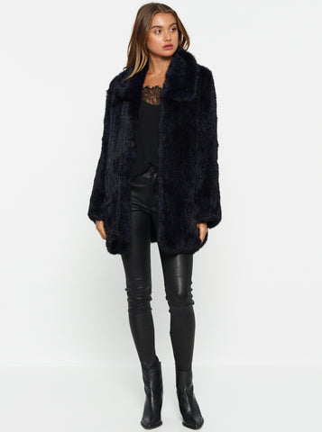 Lush Luxe Fur Relaxed Coat - Bold Blue/Black Tipping