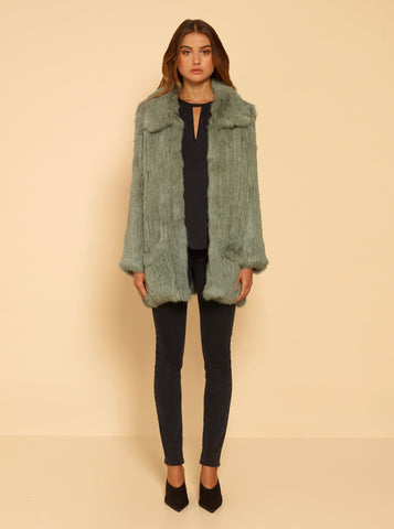 Lush Luxe Fur Relaxed Coat - Sage Green
