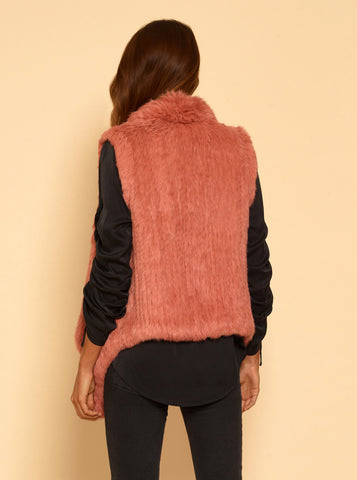 Lush Luxe Fur Vest - Cameo Rose