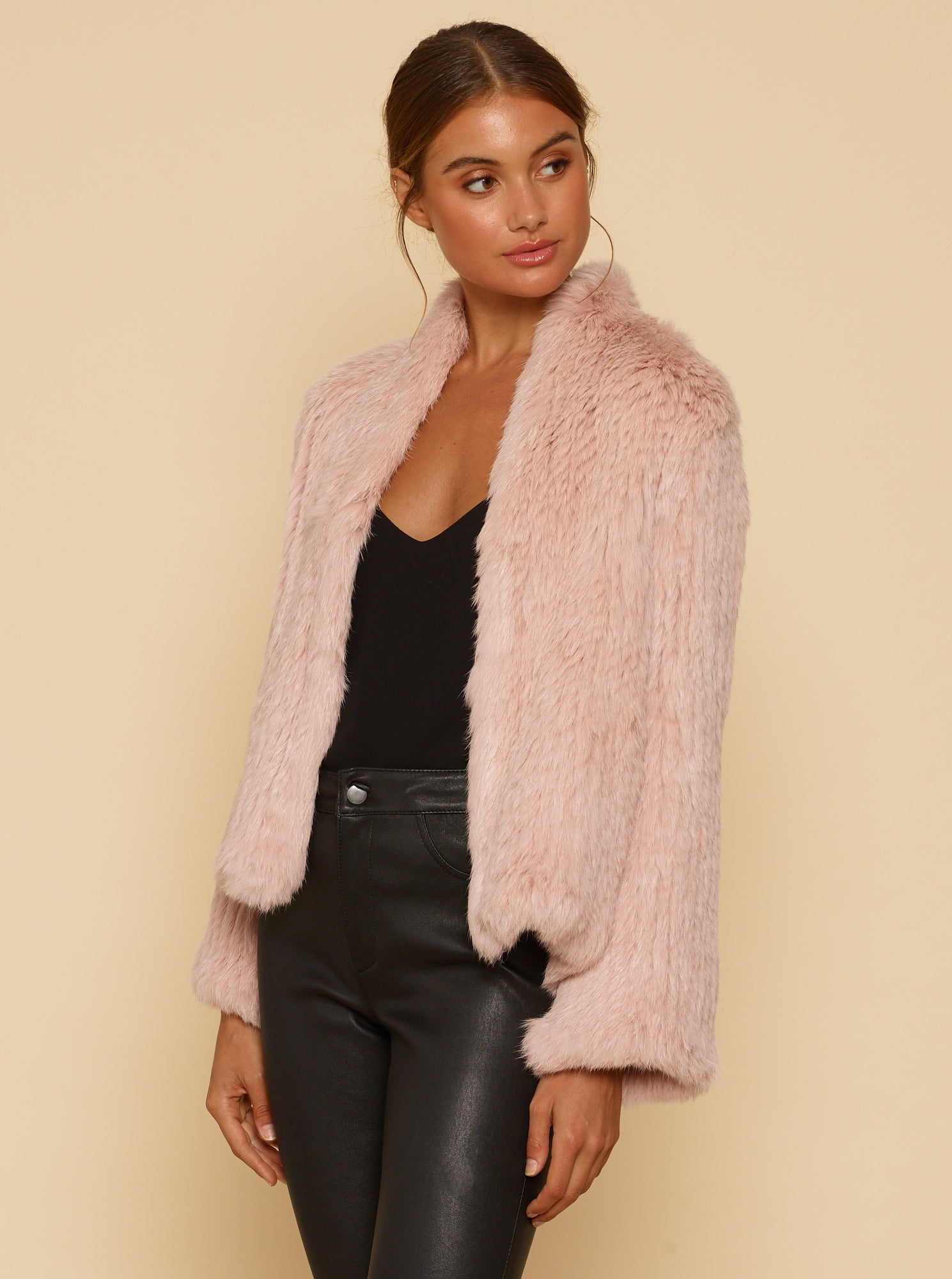 Lush Luxe Fur Jacket - Smokey Pink