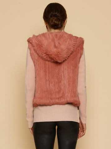 Lush Luxe Fur Hoodie Vest - Cameo Rose