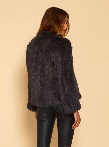 Lush Luxe Fur Jacket - Anthracite