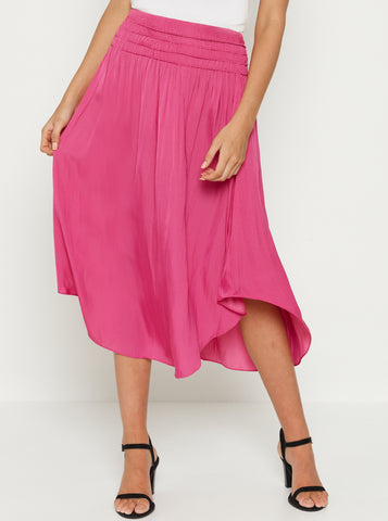 Look Twice Shirred Waist Midi Skirt
