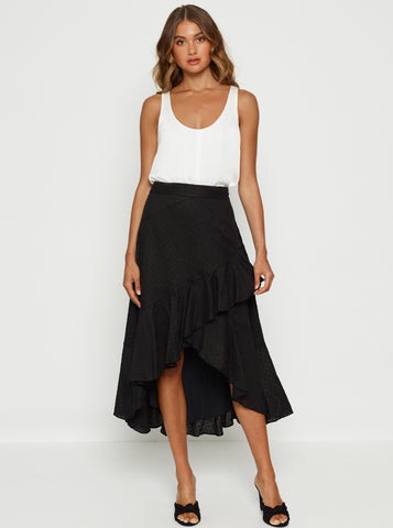Love To Burn Ruffle Hem Midi Skirt