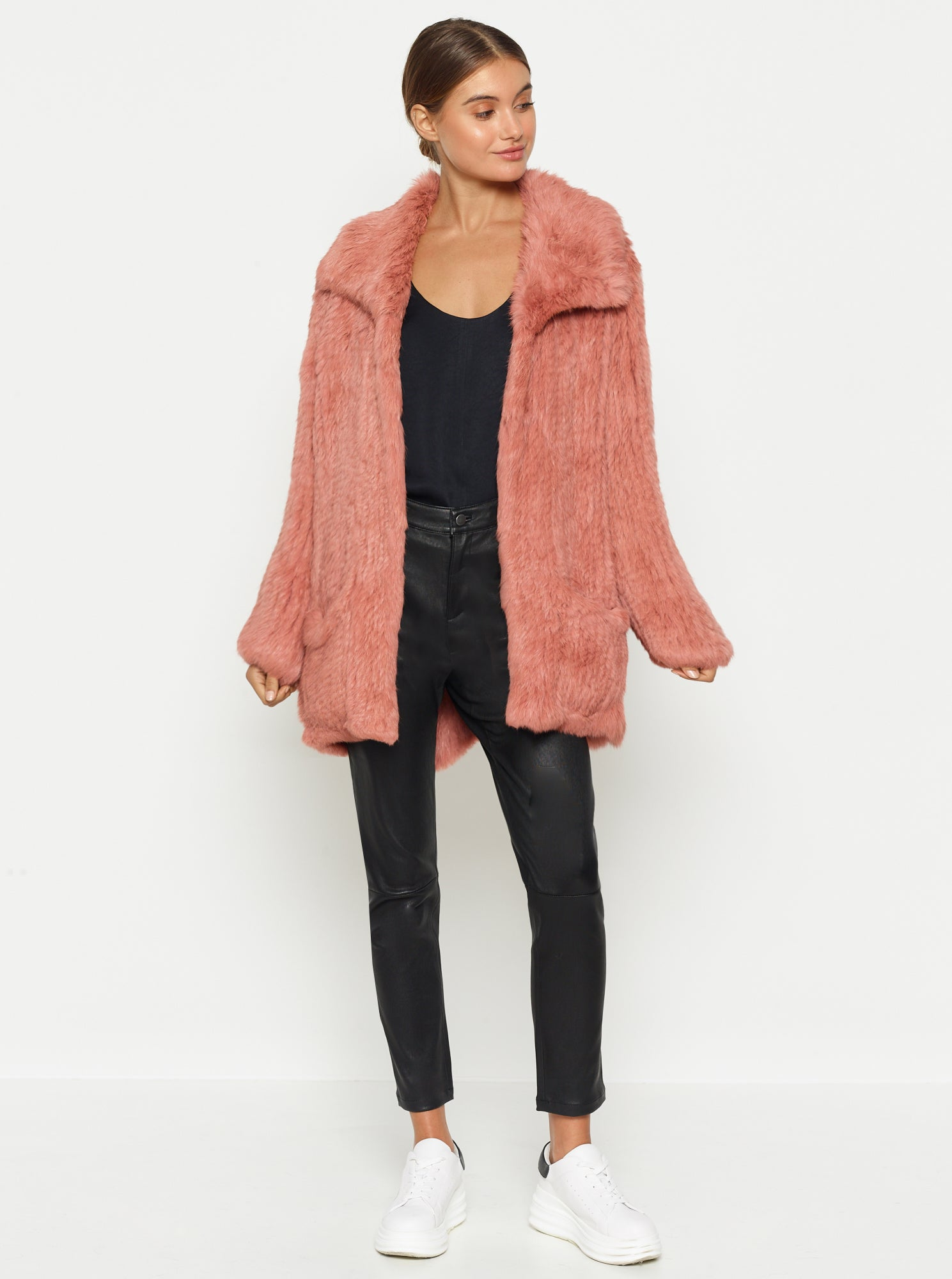 Lush Luxe Fur Relaxed Coat - Cameo Rose