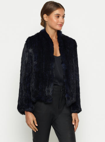 Lush Luxe Fur Jacket - Bold Blue/Black
