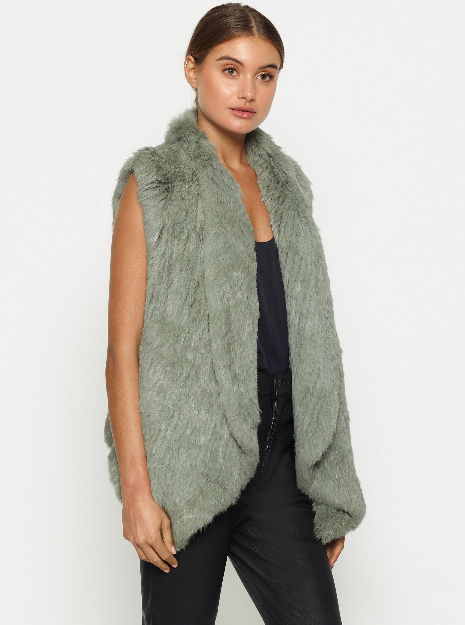 Lush Luxe Fur Vest - Sage Green