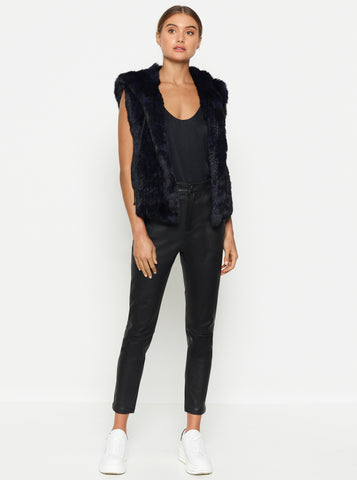 Lush Luxe Fur Hoodie Vest - Bold Blue/Black