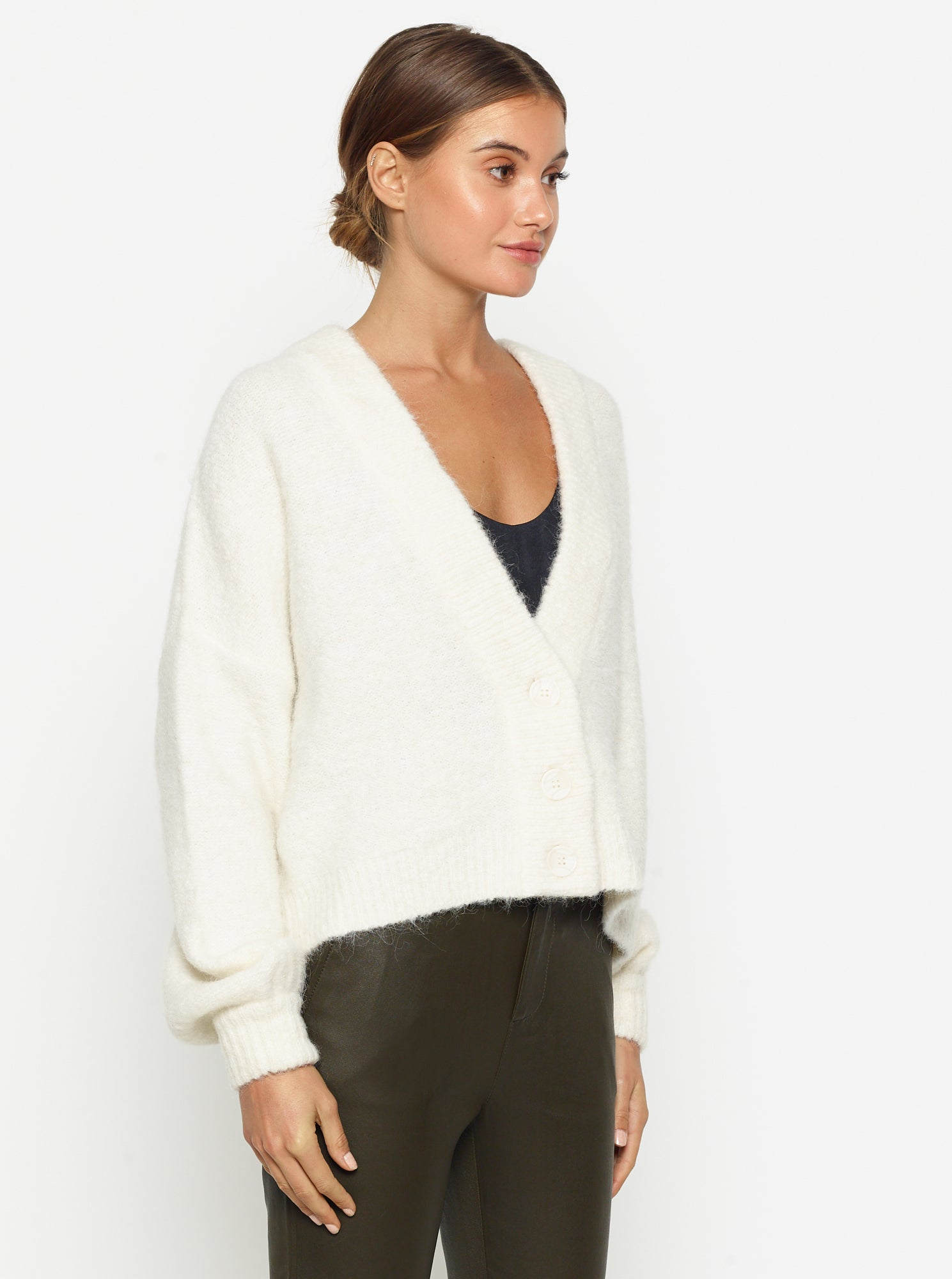 Off Duty Balloon Sleeve Cardigan - Ivory