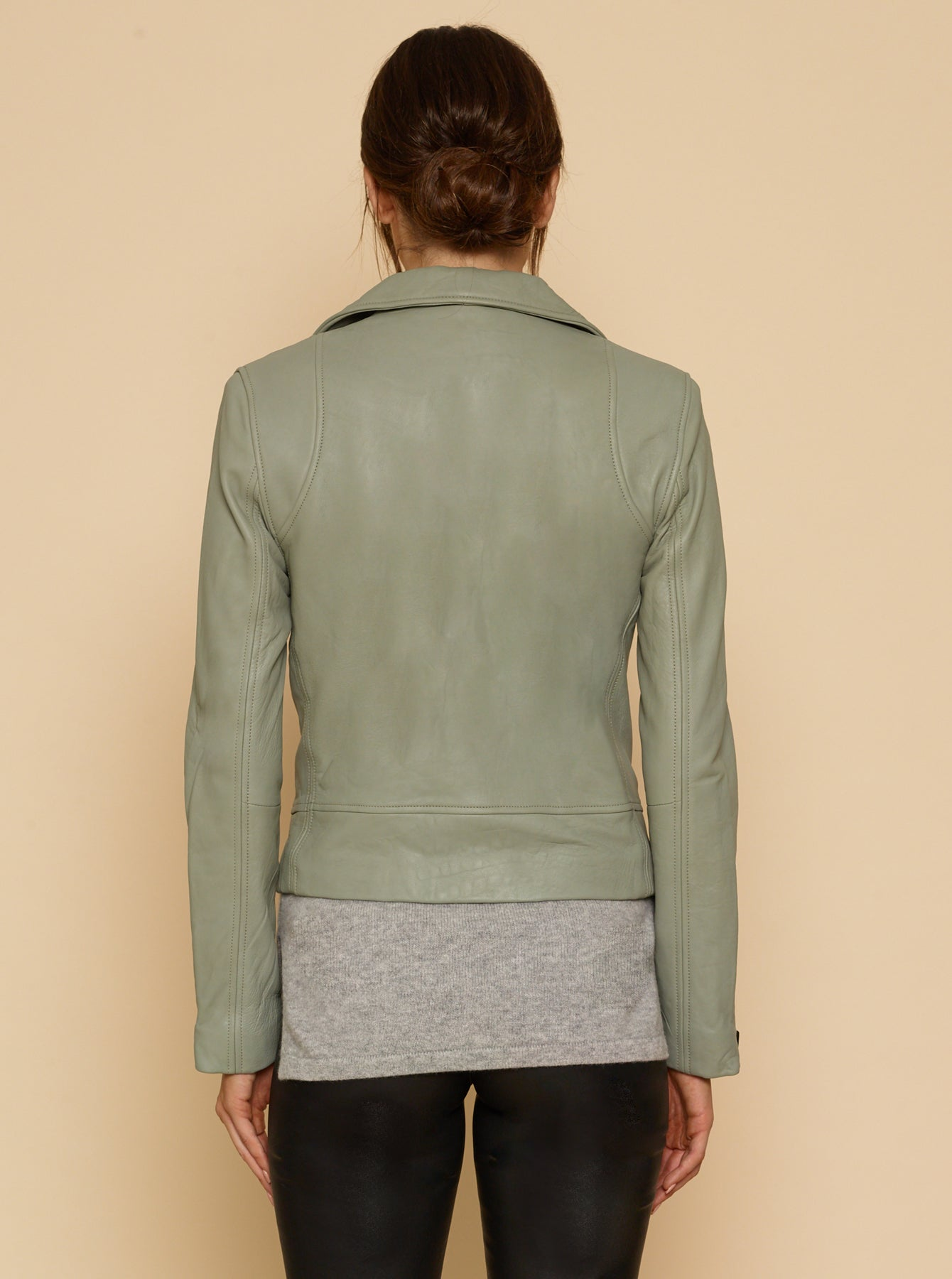 Born To Be Wild Crop Leather Jacket - Sage Green
