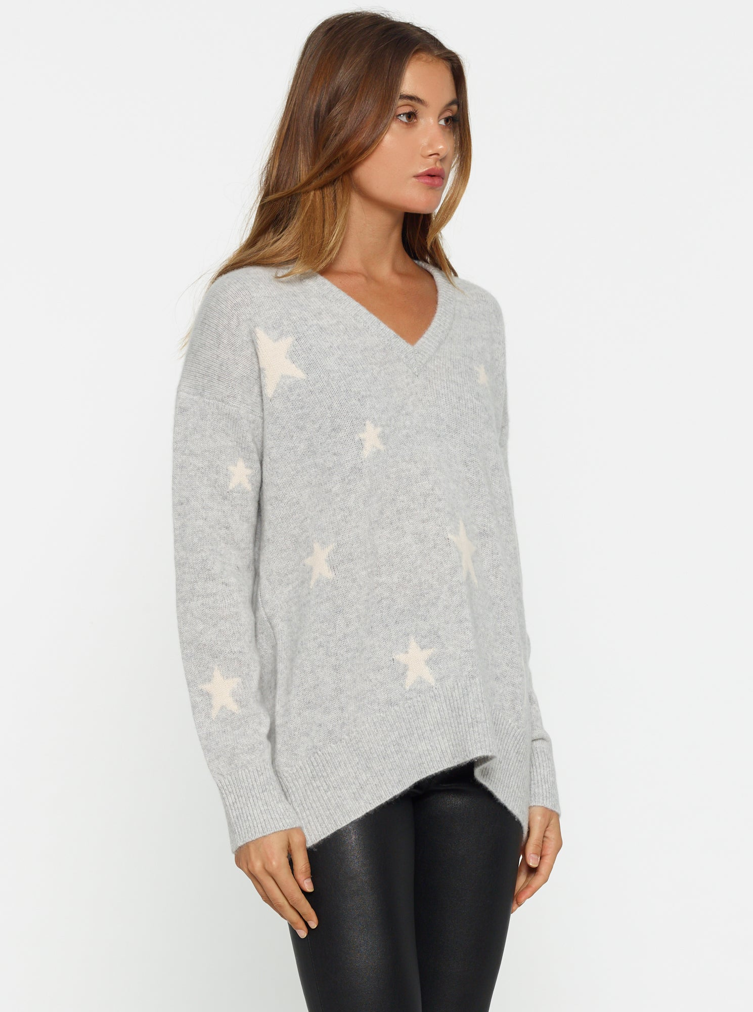 All The Stars Oversized V-Neck Knit - Grey Marle/Ivory