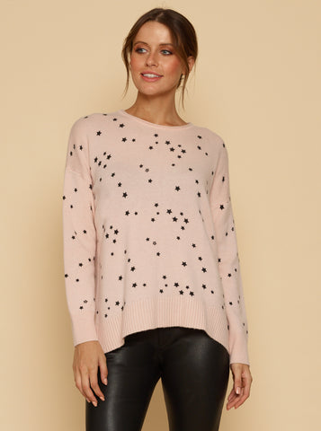 Galaxy Crew Neck Oversized Sweater - Shell Pink/Black Star