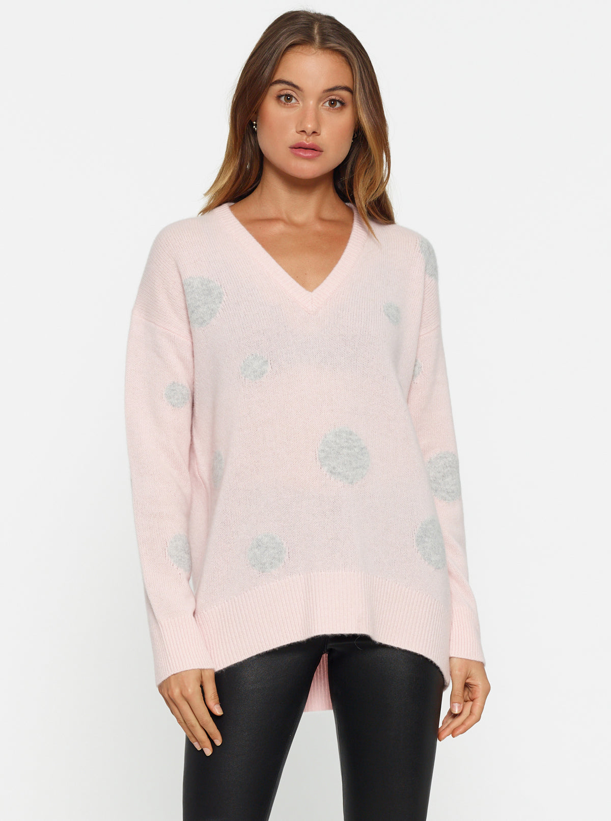 Nothing But Love Oversized V Neck Knit - Shell Pink/Grey Marle Spot
