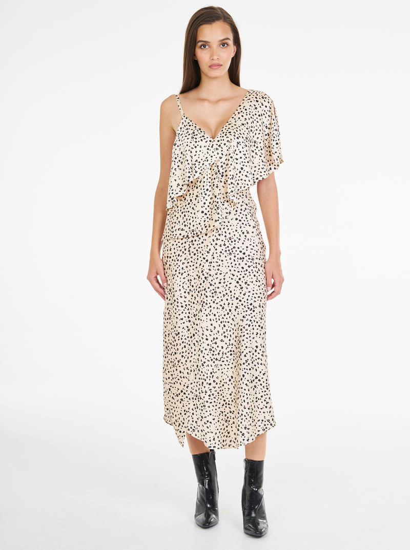 Luxe Silk Animal Print Midi Dress