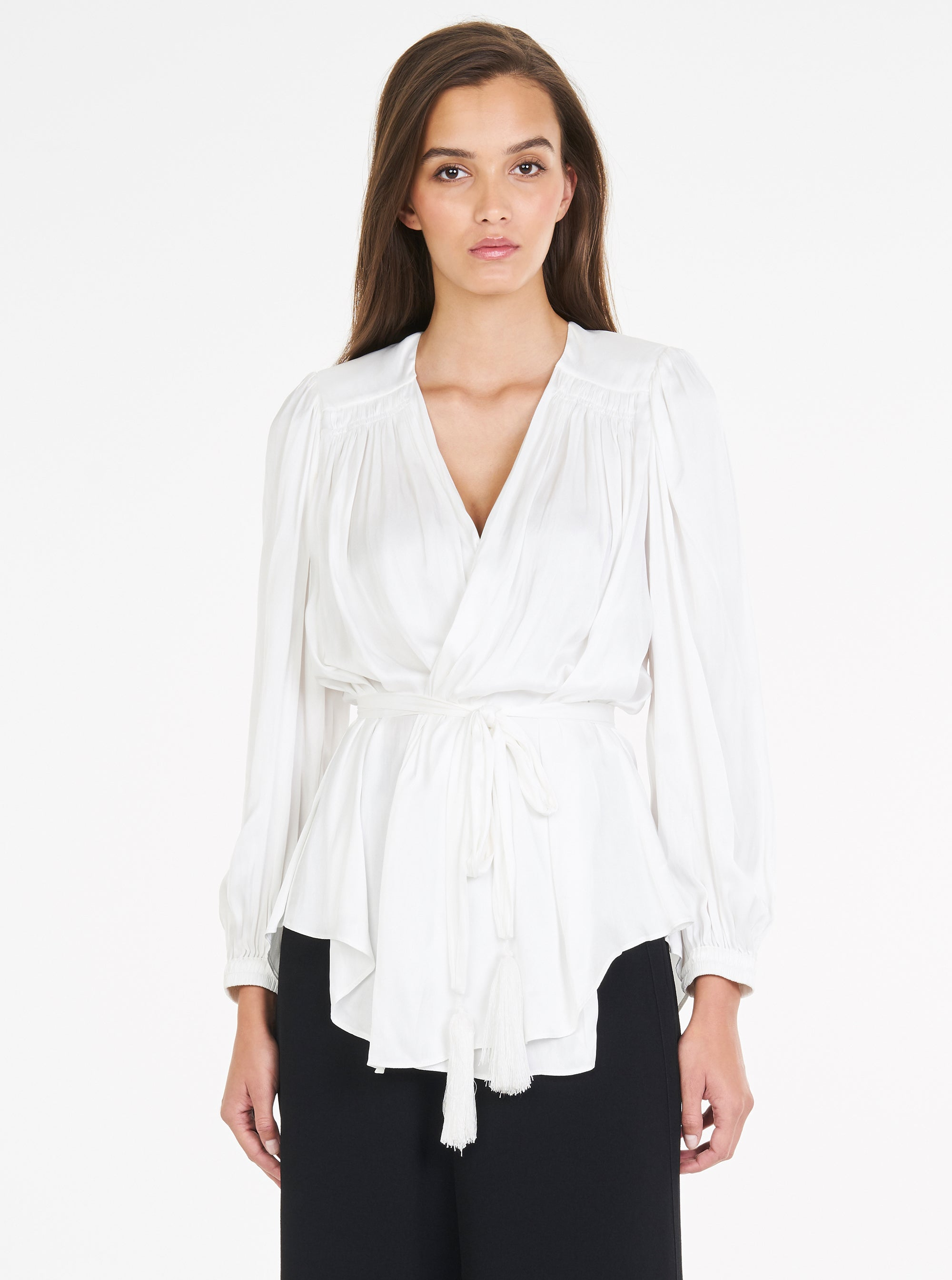 Look Again Gathered Wrap Top