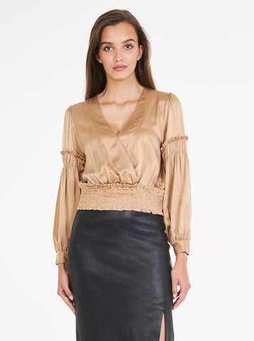 Luxe Silk Shirred Sleeve Top