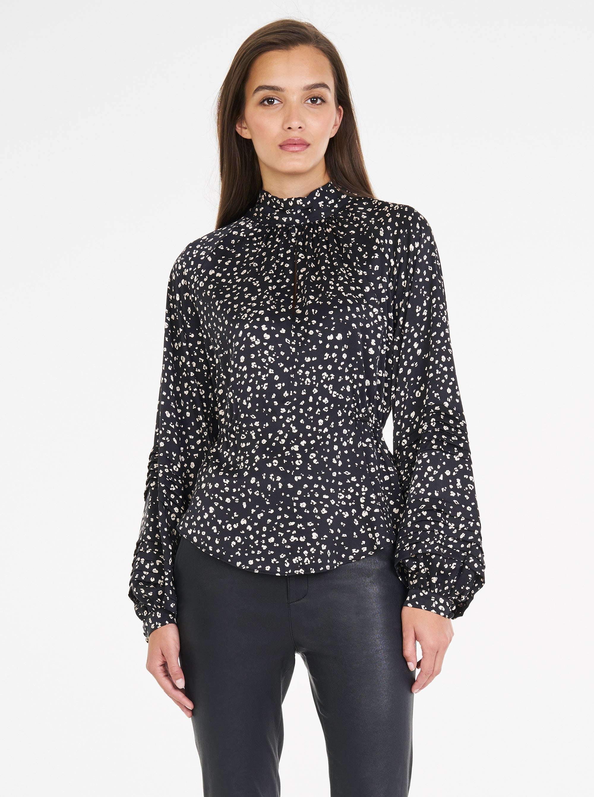 Luxe Silk Animal Print High Neck Blouse